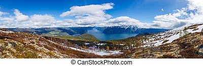 schöne , panorama, norwegen, sognefjorden., natur