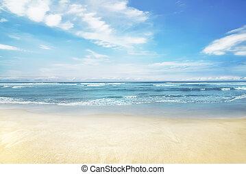 schöne , panorama, von, wasserlandschaft, mit, blauer himmel