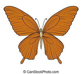 schöne , papillon, weinlese, freigestellt, hintergrund, weißes