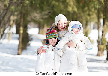 schöne , park, junge familie, verschneiter