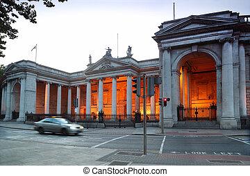schöne , parlament, altes , palast, haus, dublin, irland,...