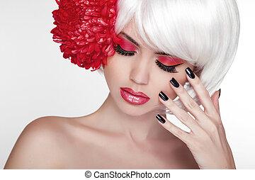 schöne , perfekt, frau, flower., schoenheit, porträt, face., spa, auf, berühren, sie, manicured, skin., frisch, m�dchen, machen, rotes , nails.