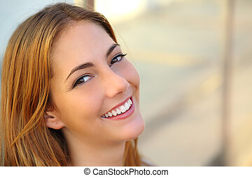 schöne , perfekt, frau, glatte haut, lächeln, weißes