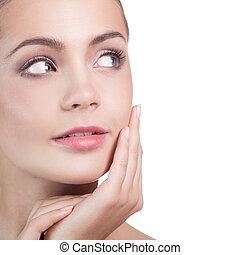 schöne , perfekt, sie, face., nach, junger, bad, skin., berühren, haut, spa, woman., skincare., m�dchen