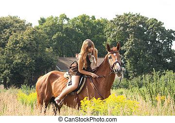 schöne , pferd, feld, teenager, reiten, m�dchen, blumen