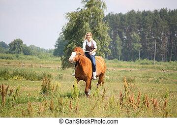 schöne , pferd, frau, bareback-reiten, blond