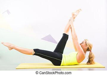 schöne , pilates, joga matte, gelber , lehrer