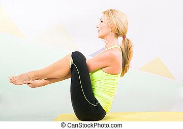 schöne , pilates, lehrer, mit, gelber , joga matte