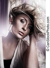 schöne , porträt, blond