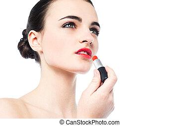 schöne , porträt, m�dchen, anwenden lippenstift