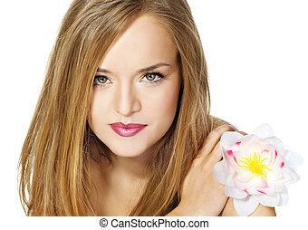 schöne , porträt, m�dchen, flower.