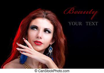 schöne , porträt, mode, frau
