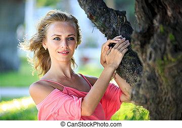 schöne , porträt, nahaufnahme, frau, blond