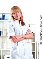 schöne , porträt, weiblicher doktor