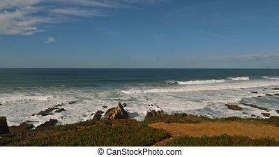 schöne,  portugal,  barca,  da,  praia,  Grande, Wellen,  Algarve