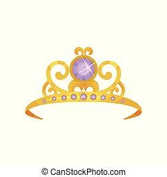 schöne , prinzessin, krone, dekoriert, mit, runder , lila, gemstones., goldenes, tiara., kostbar, königin, accessory., symbol, von, königlich, power., bunte, wohnung, vektor, design