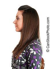 schöne , profil, frau, junger, langer, freigestellt, haar, hintergrund., porträt, weißes, brünett