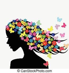 schöne , profil, frau, sie, silhouetten, haar, vlinders, blumen