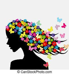 schöne , profil, frau, silhouetten, vlinders, blumen