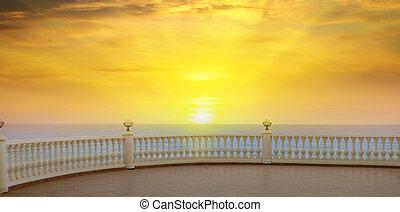schöne , promenade, aus, sonnenaufgang, meer