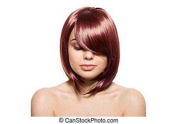 schöne , redhair, frau, junger, langer, freigestellt, hintergrund., wellig, hair., porträt, weißes