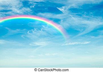 schöne , regenbogen, in, der, himmelsgewölbe