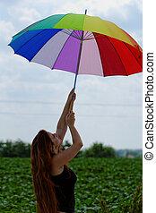 schöne , regenbogen, schirm, gefärbt, junges mädchen