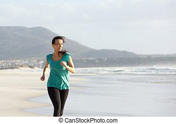 schöne , rennender , frau, sandstrand, junger