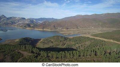 schöne,  riano,  de, Luftaufnahmen,  embalse, Spanien, Ansicht
