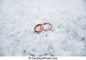 schöne , ringe, schnee, wedding