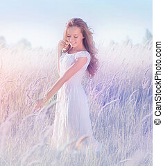 schöne , romantische , jugendlich, modell, m�dchen, genießen, natur