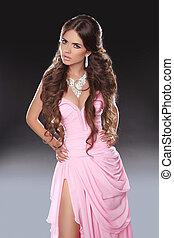 schöne , rosa, frau, schoenheit, brauner, gesunde, langer, girl., dress., brünett, hair., sexy, modell