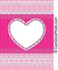 schöne , rosa, spitze, hintergrund, herz