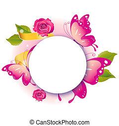 schöne , rosa, vlinders, freigestellt, auf, a, weißes