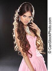 schöne , rosa, wellig, frau, schoenheit, brauner, gesunde, langer, girl., dress., brünett, hair., sexy, modell