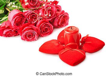schöne , rosafarbene rosen, und, vier, herzen