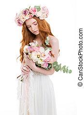 schöne , rothaarige, frau kleid, halten blüten