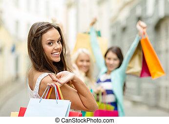 schöne , säcke, frau- einkaufen, ctiy