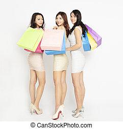 schöne , säcke, shoppen, drei mädchen