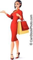schöne , säcke, shoppen, illustration., chinesisches , vektor, asiatisch, presenting., dame