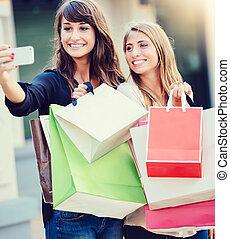 """schöne , säcke, shoppen, nehmen, mädels, """"selfie"""""""