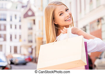 schöne , säcke, shopping., shoppen, aus, ansicht, junger,...