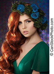 schöne , salon, frau, blaues, schoenheit, junger, makeup., erzählung, blume, grünes haar, modell, redrose, m�dchen, fee