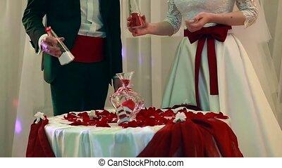 schöne , sand, zeremonie, an, der, wedding