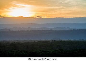 schöne , savanne, sonnenuntergang, sonnenaufgang, afrikanisch, oder, landschaftsbild