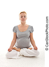 schöne , schangere frau, machen, joga, entspannung