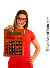 schöne , schueler, groß, taschenrechner, hält, junger, freigestellt, retro, hintergrund, weißes, aus, mathe