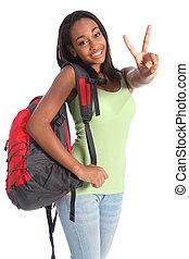 schöne , schwarz, teenager, schule- mädchen, sieg zeichen