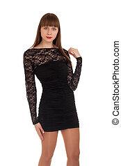 schöne , schwarze frau, kleiden