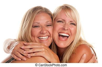 schöne , schwester, zwei, lachender